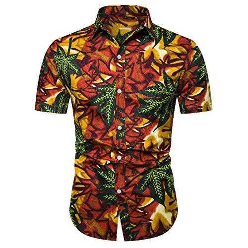 Camisa de Manga Corta de Color de Contraste de Solapa para Hombre, Camisas Ajustadas de Moda con Estampado de Personalidad de Todo fósforo, Camisas de Verano L