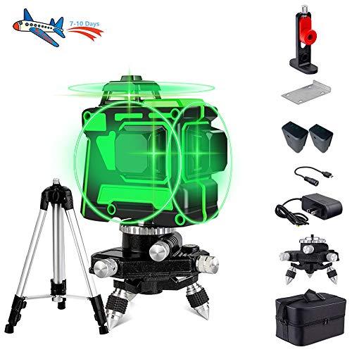 Niveau Laser Croix Vert,Peut être Utilisé Sur Les Murs,Rotatif 360 Degrés 12 Lignes,3D Laser Level Auto-nivellement Commutable Ligne Horizontale,Avec Trépied,Greenlight,12Lines,Noël