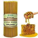 Diveevo Ritualkerzen Bienenwachskerzen: Honig 50 STK. L-16 cm, Ø-5,0 mm, Brenndauer 30 Min; natürlich, tropffrei, rauchlos. Dünne Kirchen Qualität, aus Bienenwachs №140