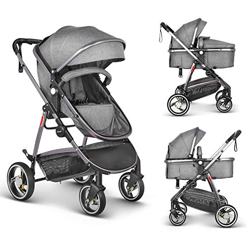 Besrey Pram Baby 2 in 1 Carriage with Convertible Reversible Bassinet & Shock Absorber for Infant Newborn Sit and Sleep Stroller - Gray