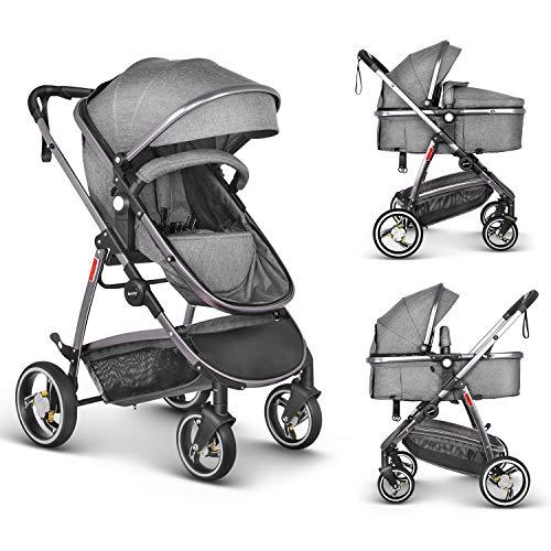 Besrey Baby kinderwagen kinderwagen 2 in 1, luxe zit- en slaapkinderwagen voor baby en baby, (0-36 maanden) met regenhoes, grijs
