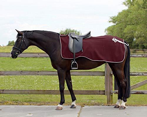 QHP Nierendecke Fleece-Ausreitdecke Ornament Fleecedecke Sattelausschnitt hinten mit Ornament in Silber ((M, Bordeaux)