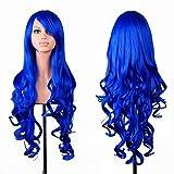 Wigs EmaxDesign 80 cm di alta qualità, dicono le donne s-Parrucca lunga riccia, resistente al calore a onde-Parrucca Glamour-Parrucca e cappello con parrucca e pettine, colore: blu scuro