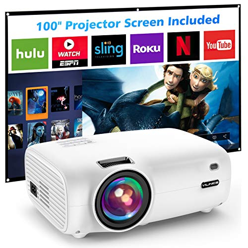 "Mini Video Projector, VILINICE 5500L Outdoor Movie Projector with 100Inch Projector Screen ,1080P and 200"" Supported Video Projector, Compatible with TV Stick, HDMI, AV, VGA, PS4, Smartphone"