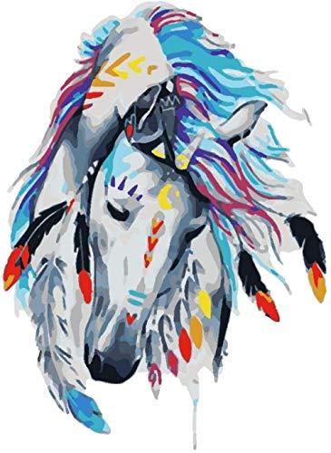 JCILZX Gemalter Pferdekopf Malen nach Zahlen Kits mit Pinseln und Acrylpigment DIY Leinwandfarbe für Anfänger 40x50cm (Rahmenlos)
