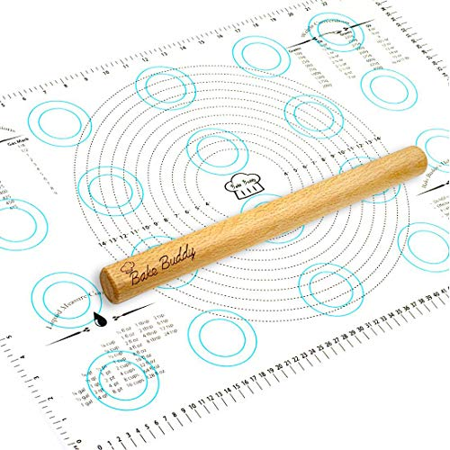 """Bake Buddy Silicone Pastry Mat Baking Set, XL Size Dough Rolling Mat, Fondant/Pie Crust Mat With Measurements, Bonus Wooden Rolling Pin Included With This 26"""" x 17"""" Premium Silicone Baking Mat"""