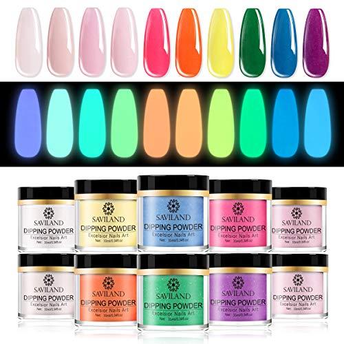 Saviland Dip Powder Nail Set - Glow in the Dark Dipping Powder 10 Colors Acrylic Dip Nail Powder Starter Kit for French Nail Manicure Nail Art No UV/LED Nail Lamp Needed