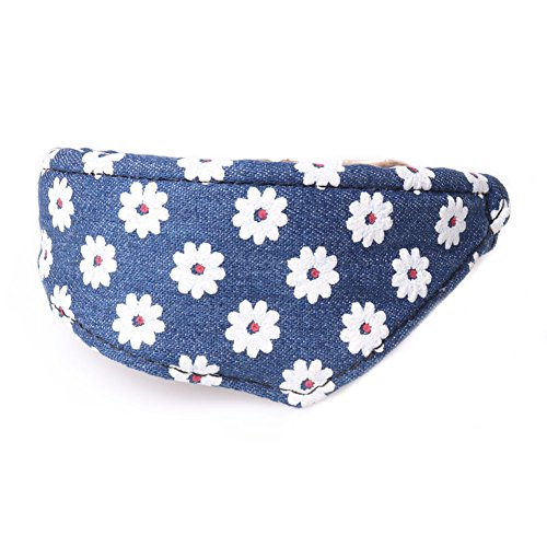 PETFAVORITES Small Dog Costume Collar - Flower Bowtie Kitten Bandana Collar for Halloween - Teacup Yorkie Chihuahua Clothes Outfits Accessories, Adjustable (Denim Floral Bandana, 8.7 to 11-Inch)