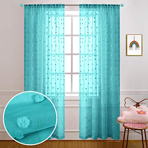 Turquoise Curtains 84 Inches Long for Living Room Decor Set of 2 Panels Rod Pocket Window Sheer Pom Pom Dot Floral Pattern Curtains for Bedroom Girls Decorations 52x84 Length