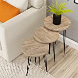 Set of 3 Nesting Tables - PAK Furniture Pine Wood Round Stacking Coffee Side Accent End Tables with Metal Legs for Living Room, Home Office, Nightstands for Bedroom, Sturdy & Easy Assembly, Gray