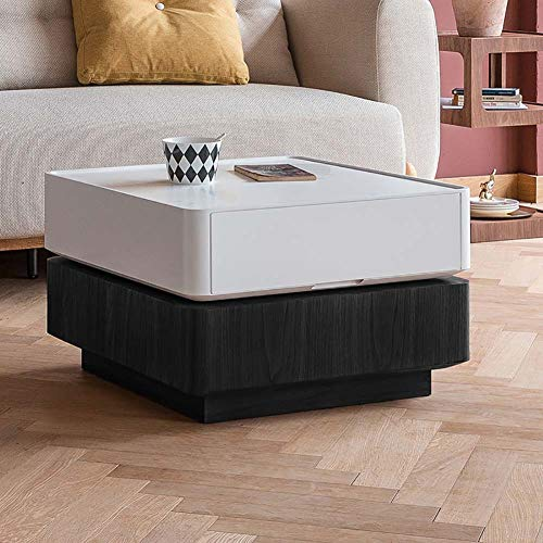 LRXGOODLUKE koffietafel met 2 tegels, hoogglans 360° draaibare salontafel met opbergruimte voor woonkamer, gastenreceptie, 60 x 60 x 38 cm