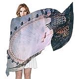 QMIN Bufanda de seda London Big Ben Ferri Wheel moda largo ligero chal de vaina ordenada bufandas silenciador para mujeres y niñas