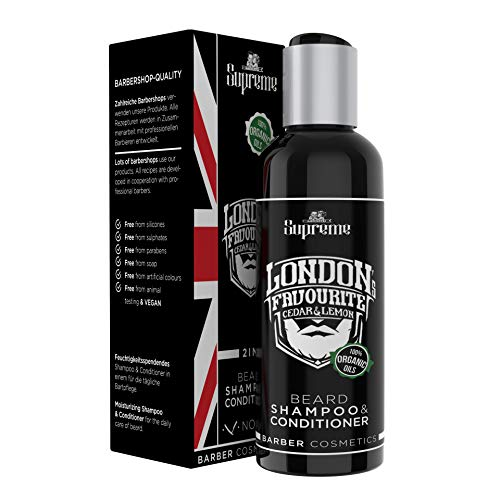 Bartshampoo Zedernholz Sandelholz Citrus mit Bio Bartöl Conditioner ● 2 in 1 Premium Bartstoppel© Barbershop ● Vegan Bartpflege für Männer 200ml