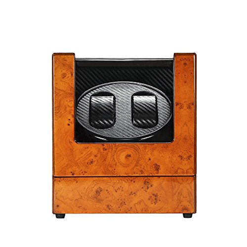 MITIME Automatic Dual Watch Winder Wood Rotating Watches Display Storage...