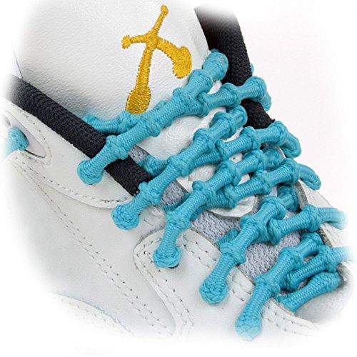 Xtenex Schnürsenkel 1 Paar farbig autobloquants für Schuhe Girl 50 cm bunt - türkis/weiß