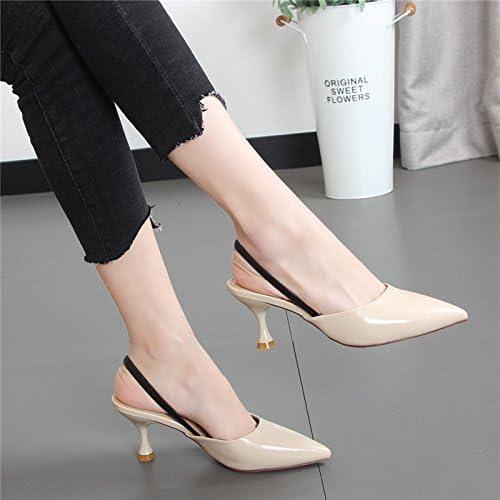Xue Qiqi Chaussons femme cool avec sangle arrière arrière fine pointe de la mode sandales Baotou, porter un demi-glisser et chaussures femmes,39, Beige  Nouvelle liste
