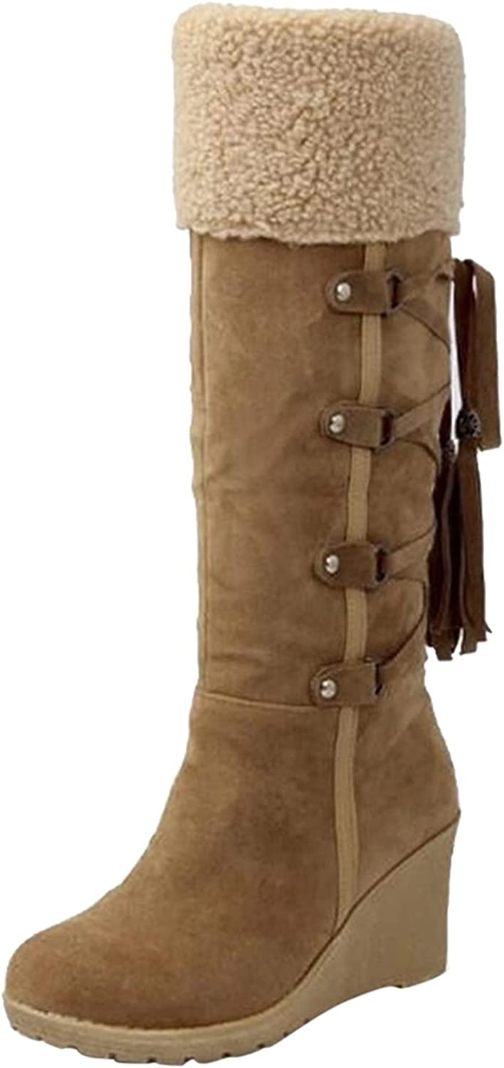 Snow Boots For Women,Women's Shoes Lace Up Snow Boots Long Booties Cotton Knee-Hign Boots Wedges