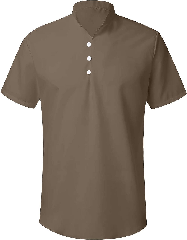 Mens Linen Henley Shirt Short Sleeve Cotton Beach Yoga Loose Fit Tops Hippie Casual Beach T Shirts