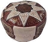 Precioso Puff Marroquí de Cuero Autentico Reposapies (Marrón Oscuro y Crema)