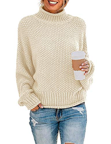 ZESICA Women's Turtleneck Batwing Sleeve Loose Oversized Chunky Knitted Pullover Sweater Jumper Tops,Apricot,Small