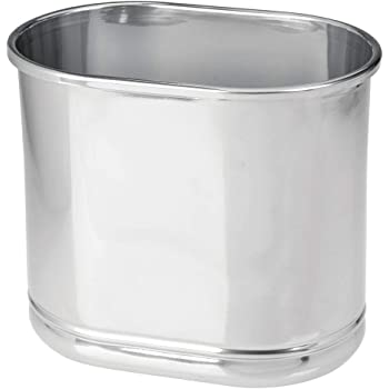 mDesign Slim Oval Metal Trash Can, Small Wastebasket, Garbage Receptacle Bin for Bathrooms, Powder Rooms, Kitchens, Home Offices - Chrome