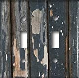Distressed Rustic Blue Painted Wood Decorative Design Double Toggle Light Switch Wall Plate Cover Standard/Midway or Jumbo Size