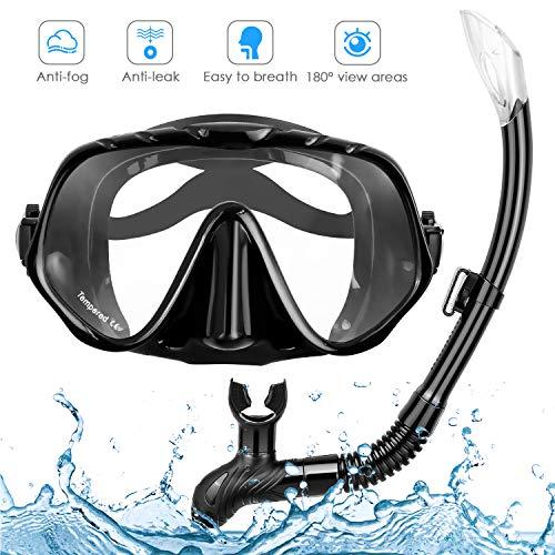 amzdeal Gafas Buceo, Snorkel Gafas con Tubo, Buceo Gafas Antivaho con Vista Panorámica 180°Snorkel Máscara Mar Set para Adultos y Juventud
