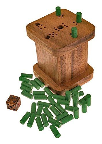 6 raus - sechs raus - Weg mit der sechs - warum immer ich - 6 weg - Würfelspiel aus edlem Samena Holz