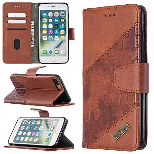 Carcasa de telefono Estuche para iPhone 7 / 8PLUS Multifuncional Cartera Teléfono Móvil Caja de cuero Premium Color Sólido PU Caja de cuero, Titular de la tarjeta de crédito Función Función Caja plega