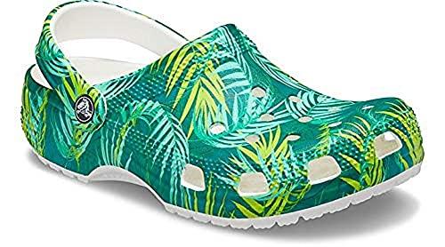 Crocs Zuecos de Madera Unisex Classic Graphic, Palm Tropical, 9 Women/7 Men