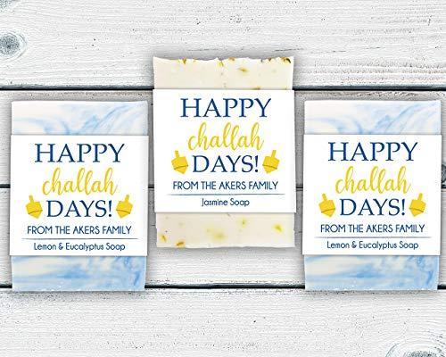 Happy Challah Days Soap Favors, Choose Quantity and Soap Color, Personalized Hanukkah Party Favors