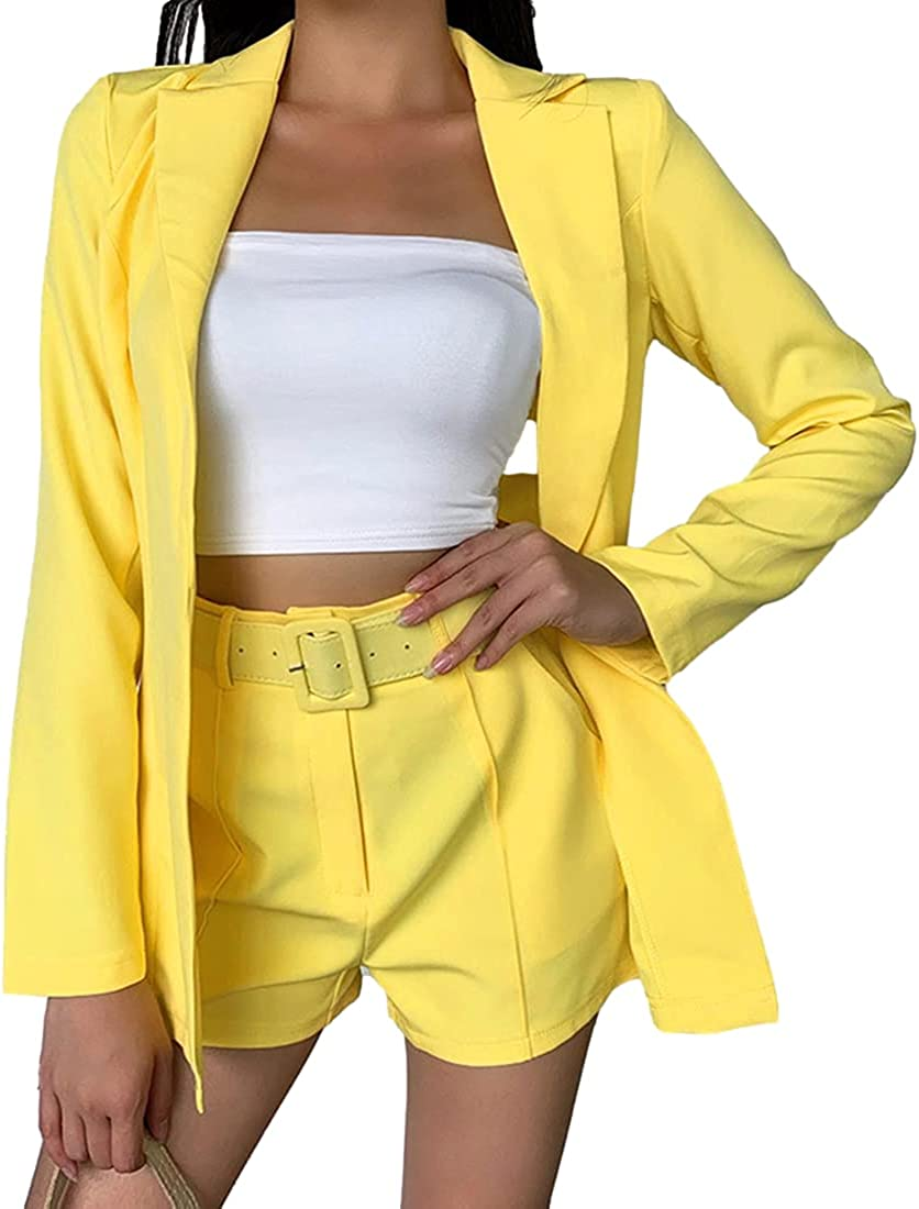 Omoone Women's 2 Piece Outfits Long Sleeve Blazers Jacket with Shorts Suit Set with Belt