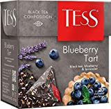 Black tea TESS Blueberry Tart and lavender Beverages Grocery Gourmet Food [20 pyramids of tea bags]