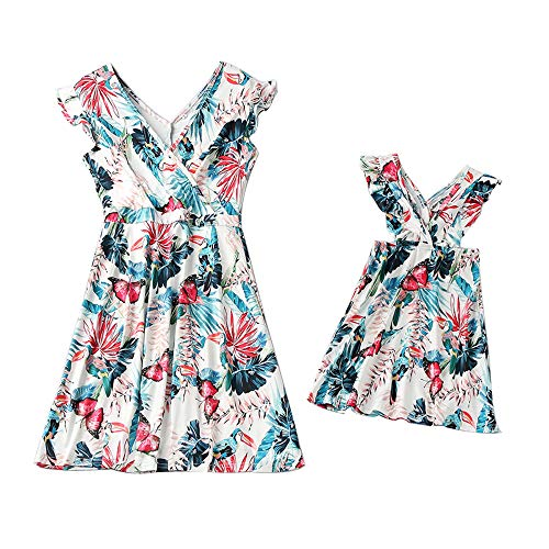 Mommy and Me Dresses V-Neck Ruffled Sleeve Floral Printed Mini Dress Mother Daughter Dresses