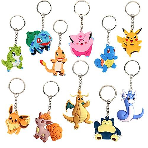 Porte-clés Pokemon de Dessin Animé, Porte-clés Pokemon Nesloonp 11 Pièces, Porte-clés Unisexe, Porte-clés Pendentif Pokemon Mignon