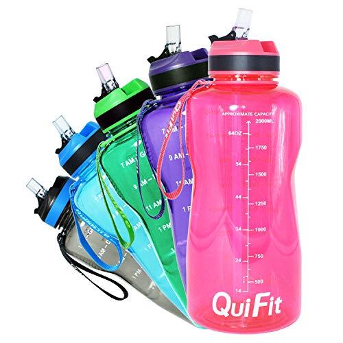 QuiFit Botella deportiva de 2 litros, color rosa, Tritan, con pajita y aliento para beber impreso, sin BPA