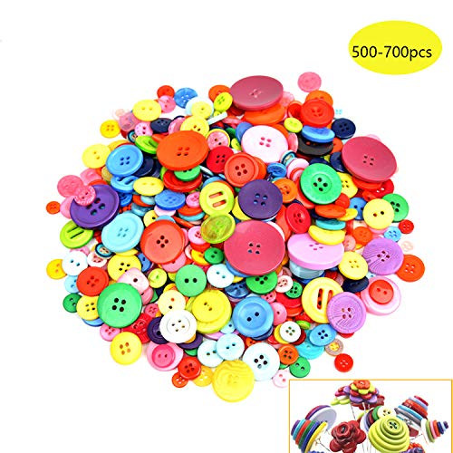 500-700 PCS Assorted Mixed Color Resin Buttons 2 and 4 Holes Round Craft for Sewing DIY Crafts Children's Manual Button Painting,DIY Handmade Ornament