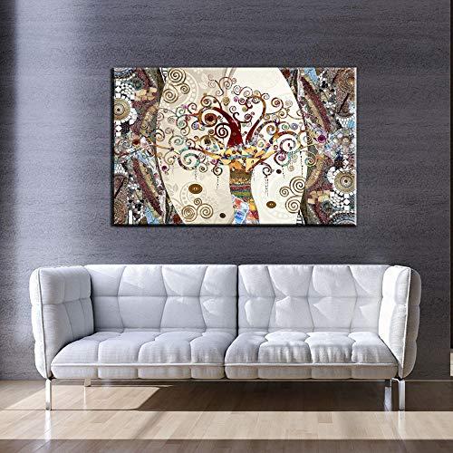MhY Famosos Cuadros, posters e Impresiones sobre Lienzo de Pintura El arbol de la Vida de Gustav Klimt para Living Room Decor 60cm x90cm No Frame