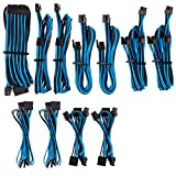 CORSAIR Premium Individually Sleeved PSU Cables Pro Kit – Blue/Black, 2 Yr Warranty, for Corsair PSUs
