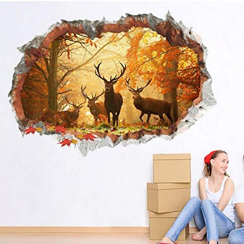 Etiqueta de la pared etiqueta engomada del vinilo ciervos Woodland cuerno Animal regalo caliente nuevo producto 3D Navidad bosque etiqueta de la pared decoración de la pared