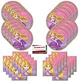 Disney Princess Rapunzel suministros para fiesta de cumpleaños paquete para 16 invitados (más lista de verificación de planificación de fiestas por Mikes Super Store)
