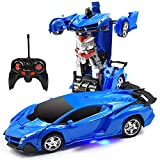 Trimnpy RC Cars Robot for Kids Remote Control Car Transformrobot Toys with One-Button Deformation and 360°Rotating Drifting 1:18 Scale, Best Gift for Kids and Adults (Blue)