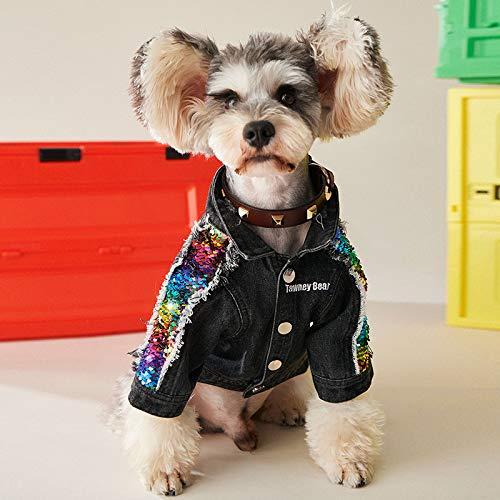 Hondenkleding Herfst En Winter Dunne Spijkerjas Met Lovertjes Voor Huisdieren XXL zwart