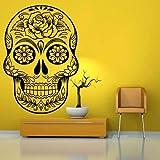 ymot101 Vinilo adhesivo para pared con cabeza de calavera de azúcar mexicana para decoración del hogar Dia de los Muertos Halloween Art
