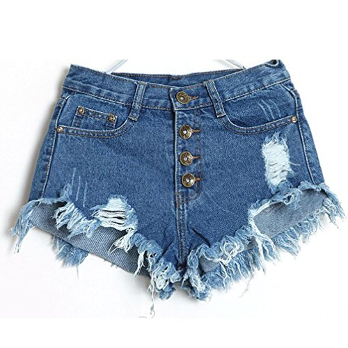 luoluoluo Donna Sexy Corto Jeans, Signore Vintage Vita Alta Jeans Buco Denim Pantaloncini Caldo Nappe Pantaloni 4 Pulsanti Vicino Club Pantaloncini (A, S)