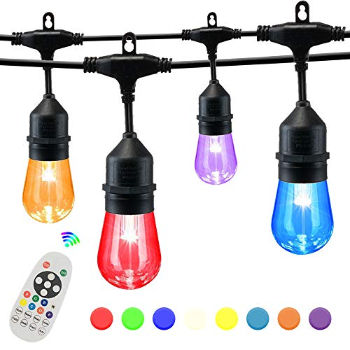 SUNTHIN 25FT Color Changing String Lights for Holiday Party Lights, Patio Backyard, Home and Outdoor Decorative, with Shatterproof S14 RGB Light Bulb and Wireless 2.4G Remote Controller
