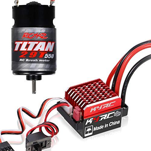 Tooart Motor RC Esc, Motor Cepillado 550 29T con Controlador De Velocidad Eléctrico Cepillado 60A / 360A Esc 6V / 2A para Coche De Carreras RC Coche Todo Terreno Compatible con TRX-4 TRX-6 Axial