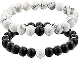 UEUC King&Queen Crown Distance Couple Bracelets His and Her Ying Yang Friendship 8mm Black Matte Agate Beads Bracelet