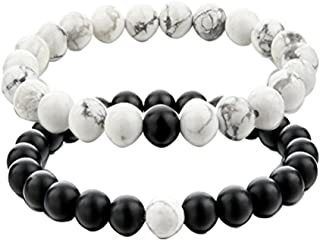 Couple Distance Bracelets for Lovers-2pcs Black Matte Agate & White Howlite 8mm Beads By UEUC