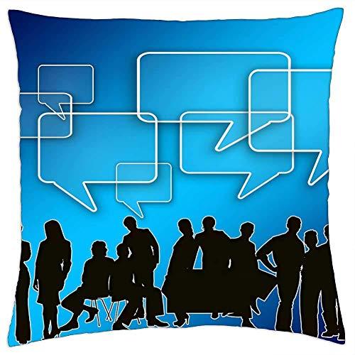 BXBX Throw Pillow Cover (20x20 Pulgadas) - Grupo de Globos de Equipo para Hombres de Negocios, reuniones, Nubes